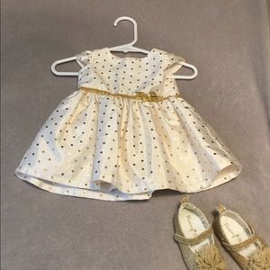 Carters gold polka dot dress